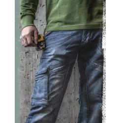 DIKE PARTNER DENIM BLUE STONE WASHED TROUSSERS