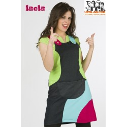 LACLA MULTICOLORED DENIM PINAFORE