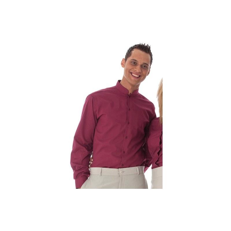 Camisa blanca d'home coll mao, màniga llarga