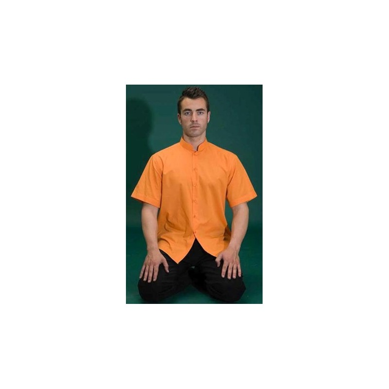 Camisa blanca d'home coll mao, màniga curta