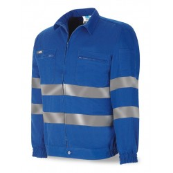 ROYAL BLUE COTTON JACKET 245 grs. WITH REFLECTIVE BANDS