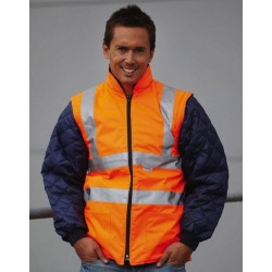 PADDED JACKET WITH FLUO REMOVABLE SLEEVES
