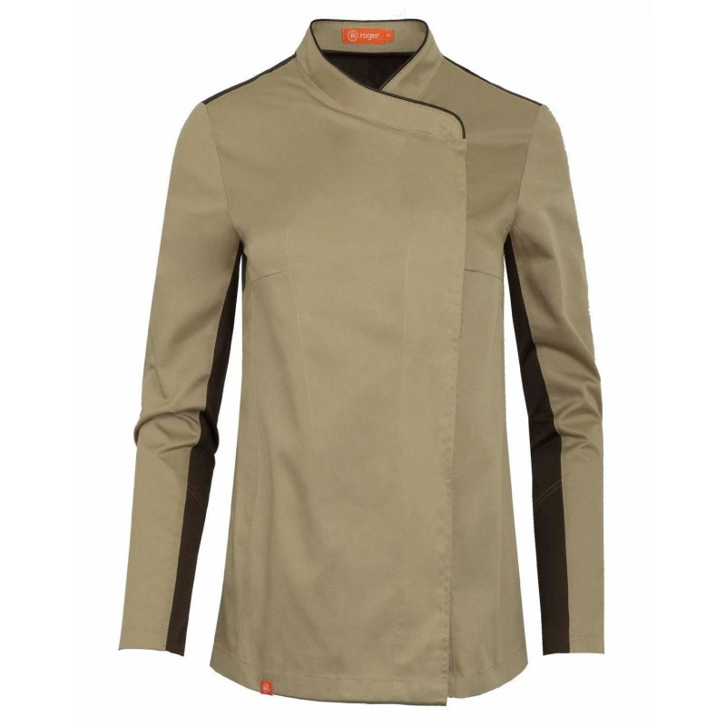 WOMEN'S KITCHEN JACKET WITH CONTRASTING TRIM