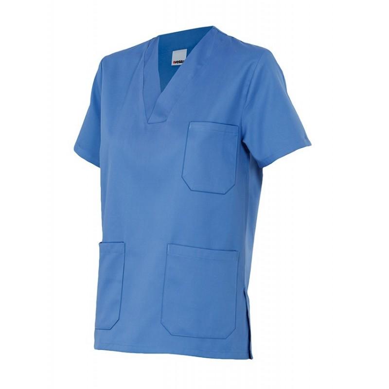 Camisola Pijama color con cuello de pico manga corta