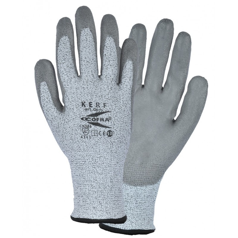 GUANTES ANTICORTE COFRA KERF (PU) Paquete 12 uds.