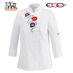 CHAQUETA COCINA SEÑORA SLIM FIT WHITE FLOWERS M/L