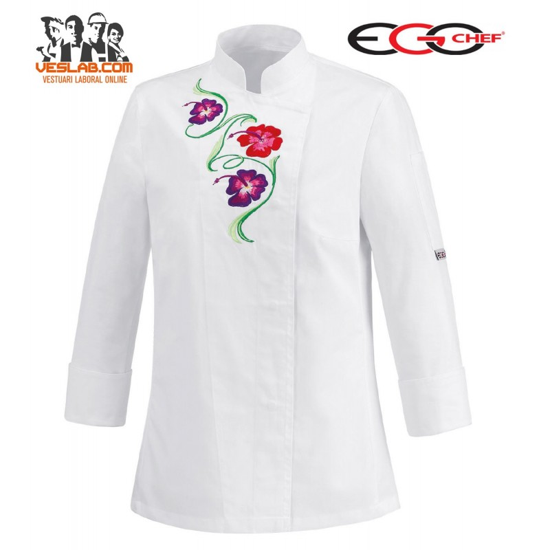 CHAQUETA COCINA SEÑORA SLIM FIT WHITE FLOWER M/L