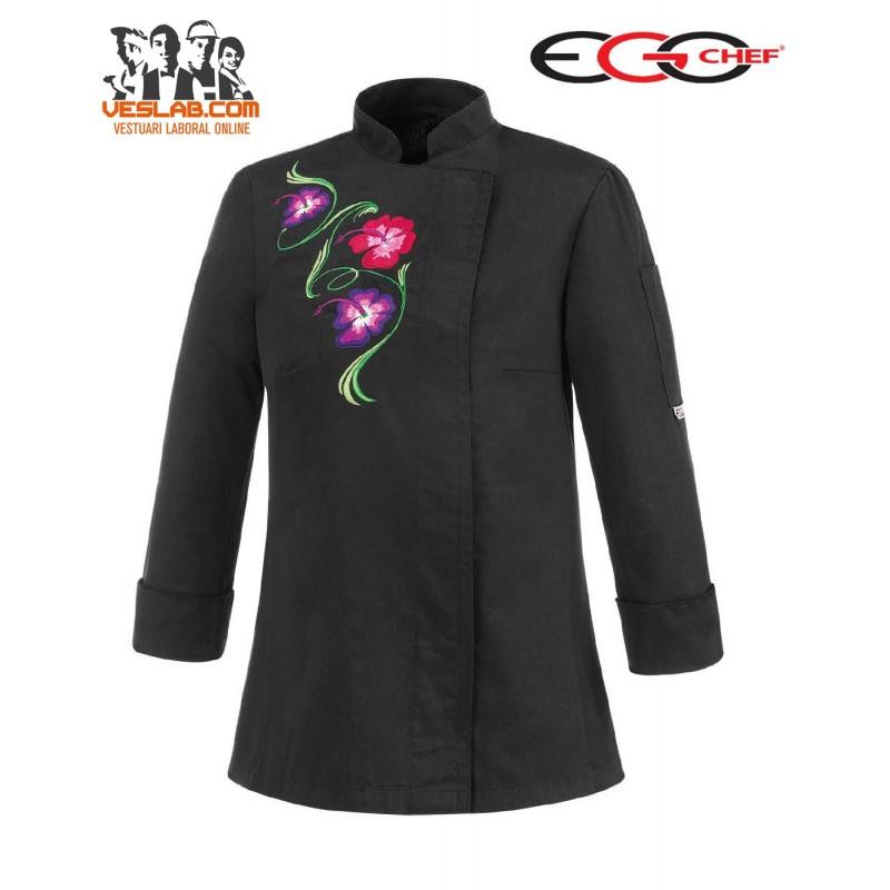 CHAQUETA COCINA SEÑORA SLIM FIT BLACK FLOWERS NEGRA M/L